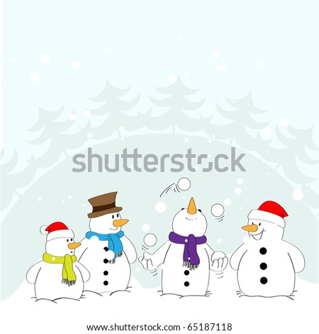 Snowman in the role of a juggler with the audience. Vector. - stock vector
