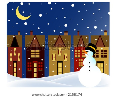 snowman in village at night with snowfall - stock vector