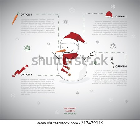 Snowman infographic - stock vector