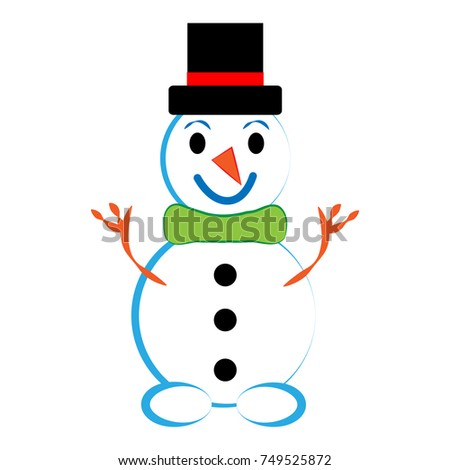 Snowman isolated on white background.