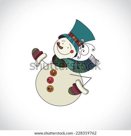 Snowman isolated on white background. Snowman with hat and gloves. Hand drawn design element can be used for xmas card, invitation, poster, flyer.
