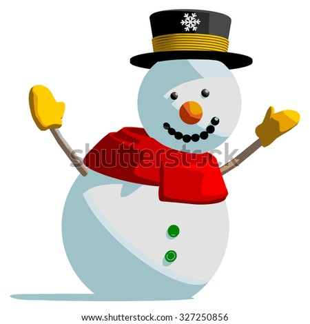 Snowman isolated vector illustration on white background. - stock vector