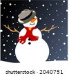 snowman on a snowy night - stock photo