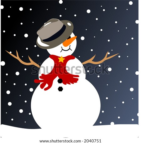 snowman on a snowy night - stock vector