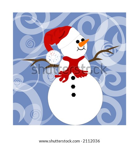 snowman on funky background - stock vector