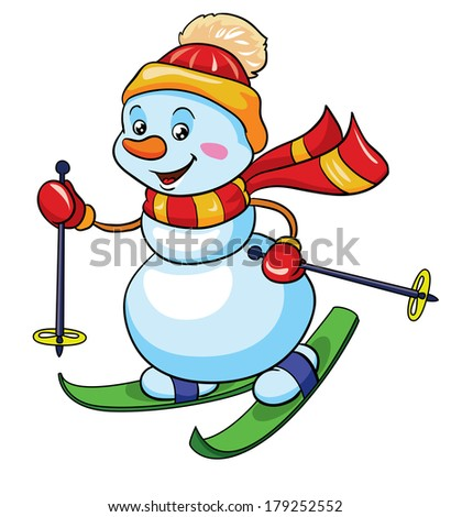 snowman on skis, vector illustration on white background - stock vector