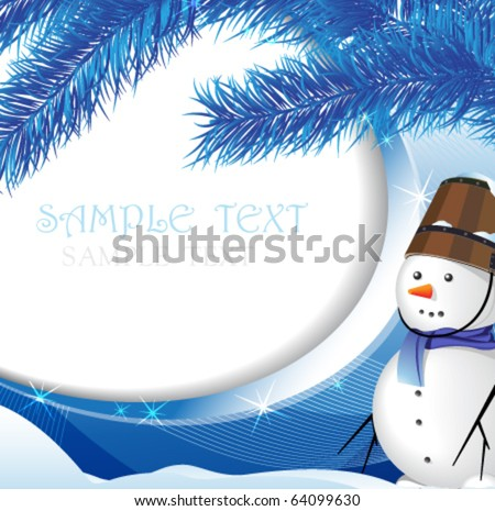 Snowman on the background of snow-covered fir - stock vector