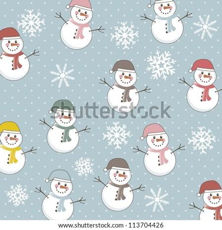 snowman pattern over blue background. vector illustration - stock vector