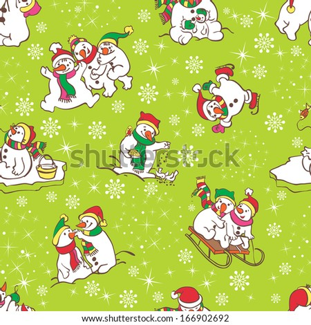 Snowman seamless pattern. Template for christmas winter design. Seamless pattern can be used for wallpaper, pattern fills, web page background, surface textures. - stock vector