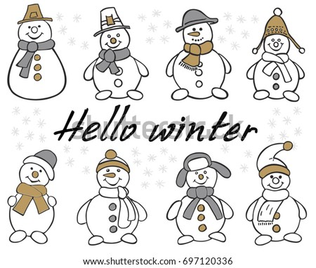Snowman Set. Winter christmas snowman isolated vector illustration