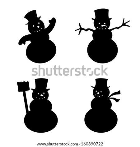 Snowman silhouette - stock vector