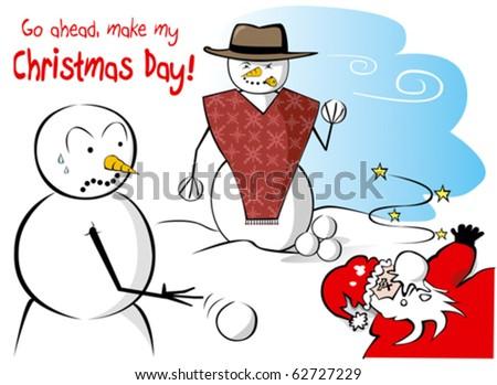 Snowman Snowball - stock vector