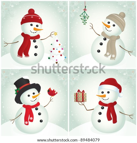 Snowman. Snowman with Christmas tree, mistletoe, cardinal bird and gift. Christmas design. Winter. - stock vector