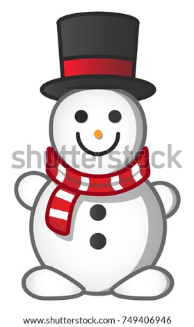 Snowman. Vector. Art. The occasion. Card. Snowman in scarf and hat. New year and Christmas.
