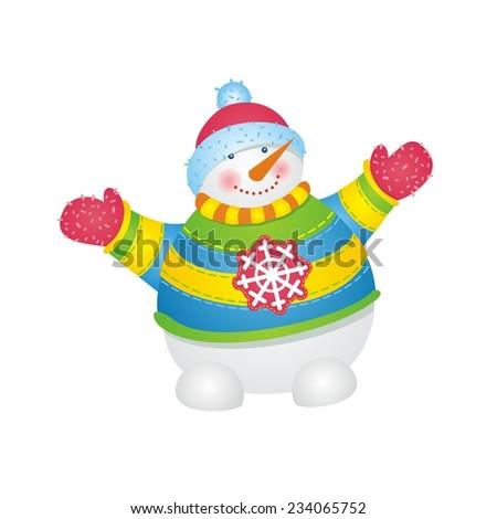 Snowman. Vector illustration.  - stock vector