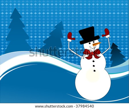 snowman waving (seamless pattern behind) - stock vector