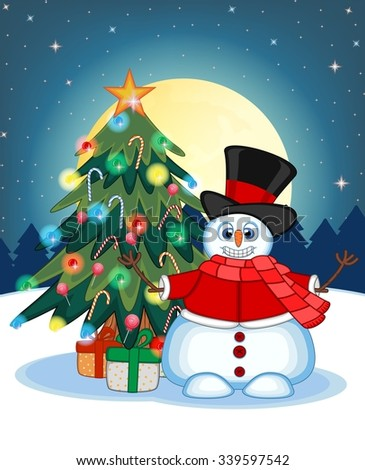 Snowman Wearing A Hat, Red Sweater And Red Scarf Waving His Hand  With Christmas Tree  And Full Moon At Night Background For Your Design Vector Illustration - stock vector