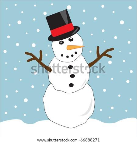 Snowman Wearing Top Hat - stock vector