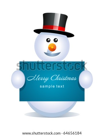 Snowman with banner vector background - stock vector