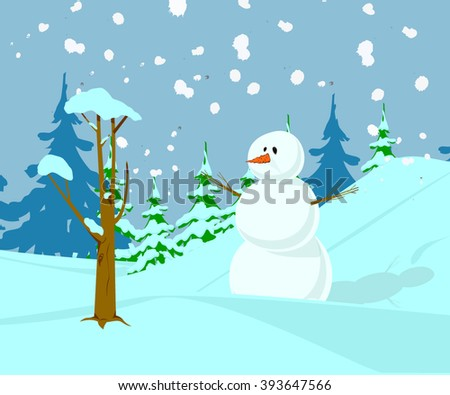 Snowman with beautiful background.