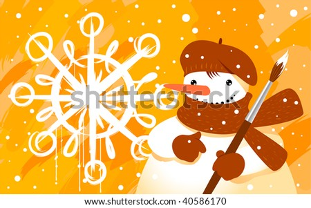 Snowman with brush - stock vector