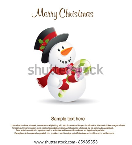 Snowman with candy - stock vector