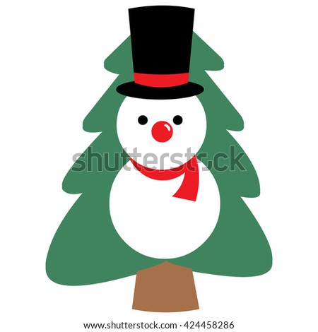 snowman with Christmas tree  vector illustration - stock vector