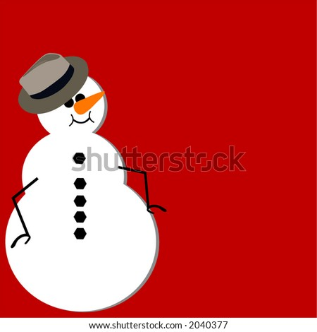 snowman with fedora - stock vector