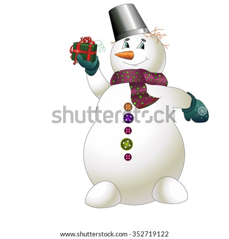Snowman with gift. New year - stock vector