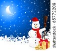 snowman with gift - vector illustration - stock vector