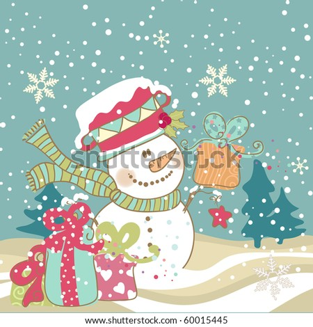 snowman with gifts - stock vector