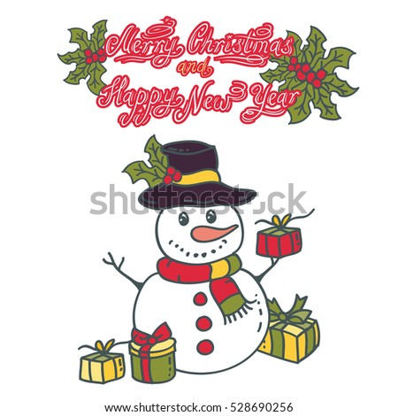 Snowman with gifts vector illustration on white background. Vector illustration