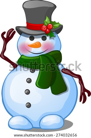 snowman with green scarf - stock vector