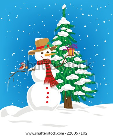 Snowman with hat and scarf holding gift and little bird with Christmas hat perching on snowman arm and gift on its beak. On background fir tree covered with snow and blue winter sky with falling snow. - stock vector