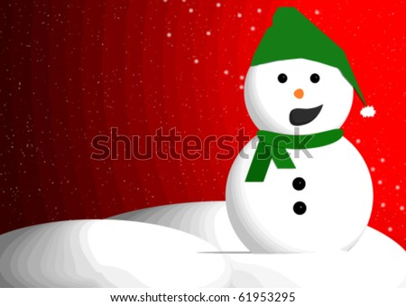 Snowman with open mouth with text space for your message.
