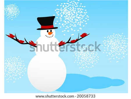 snowman with red birds on branches - stock vector