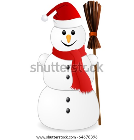 Snowman with red christmas hat - stock vector