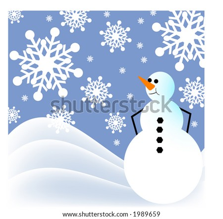 snowman with rolling hills, - stock vector