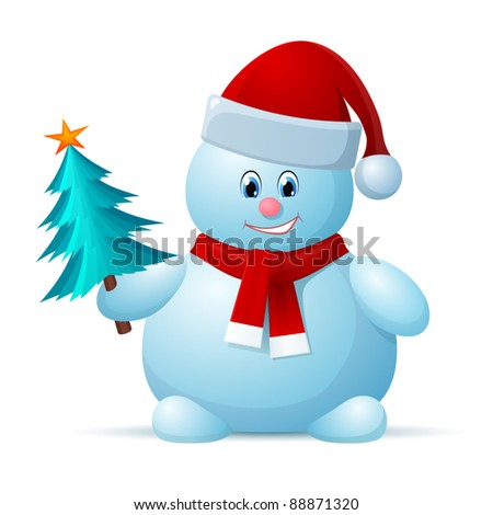 Snowman with Santa Cap and Christmas Tree