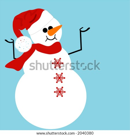 snowman with santa hat - stock vector