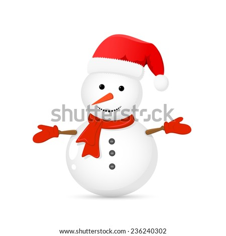 Snowman with Santa hat isolated on white background, illustration.