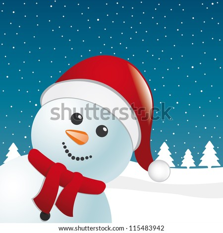 snowman with scarf and santa claus hat - stock vector