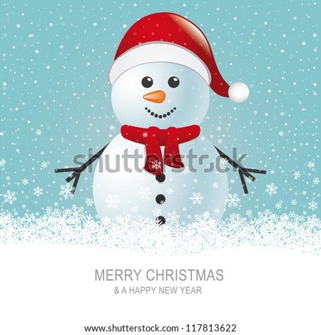 snowman with scarf hat brown snow background - stock vector
