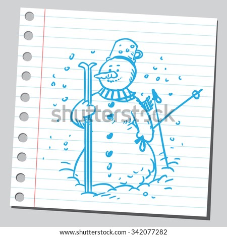 Snowman with skis - stock vector