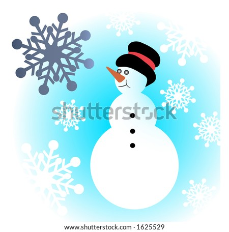 snowman with snowflakes - stock vector