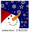 snowman with snowflakes and stars - stock vector
