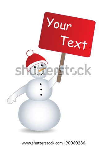 Snowmans with billboard and place for text - stock vector