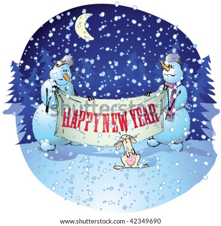 """Snowmen holding a banner """"Happy New Year"""" - stock vector"""