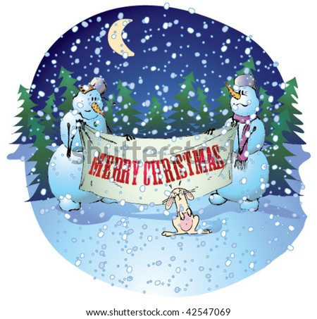 "Snowmen holding a banner ""Merry Christmas"" - stock vector"