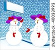 snowmen (ladies) with purple hats -use with or without sign behind - stock vector